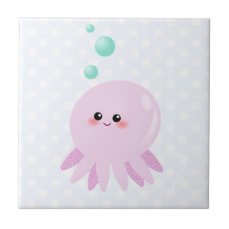 Cute octopus cartoon small square tile