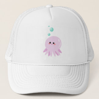 Cute octopus cartoon trucker hat