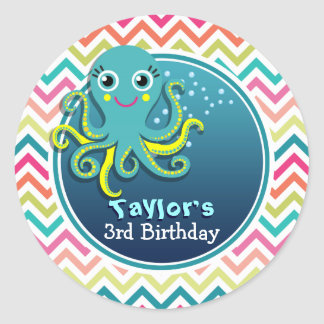 Cute Octopus; Colorful Chevron Kid's Birthday Classic Round Sticker