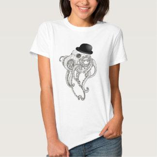cute octopus in bowler hat steampunk tshirt