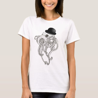 cute octopus in bowler hat steampunk tshirt