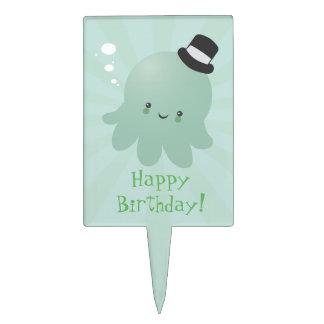 Cute Octopus wearing a black Top Hat Cake Pick