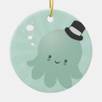Cute Octopus wearing a black Top Hat Round Ceramic Decoration