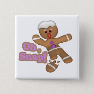 cute oh, snap gingerbread man cookie 15 cm square badge