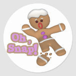 cute oh, snap gingerbread man cookie round stickers