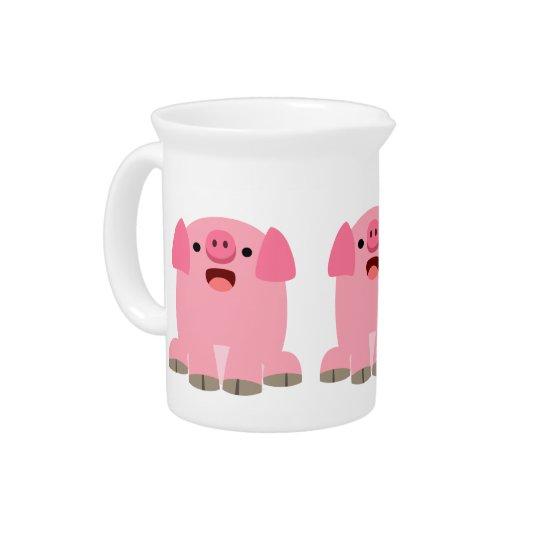 Cute Oinking Cartoon Pig Pitcher