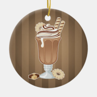 Cute old fashioned chocolate milkshake design christmas ornament