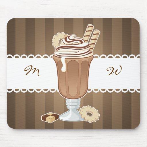 Cute old fashioned chocolate milkshake design mousepads