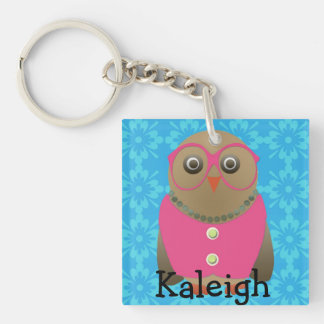 Cute Old Lady Owl in Pink Glasses on Blue Single-Sided Square Acrylic Key Ring
