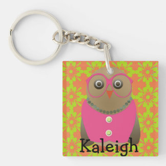 Cute Old Lady Owl in Pink Glasses on Orange Single-Sided Square Acrylic Key Ring