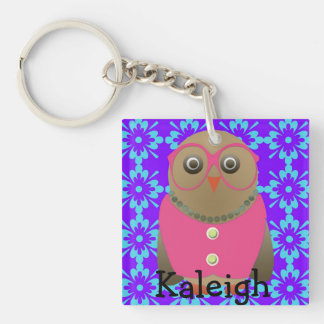 Cute Old Lady Owl in Pink Glasses on Purple Single-Sided Square Acrylic Key Ring