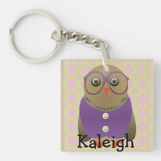 Cute Old Lady Owl in Purple Glasses on Pink Single-Sided Square Acrylic Key Ring