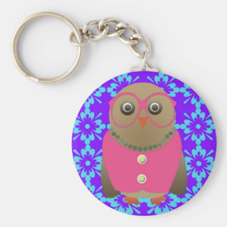 Cute Old Lady Owl on Purple and Blue Keychains