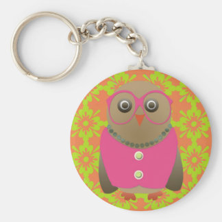 Cute Old Lady Owl with Bright Pink Glasses Vest Key Chain