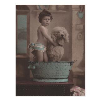 Cute Old Photo Little Kid with Dog In Bathtub Postcard
