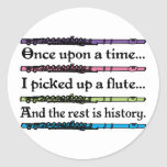 Cute Once Upon A Time Flute Round Stickers