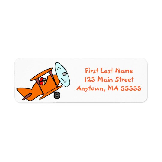 Cute Orange Aeroplane Address Labels