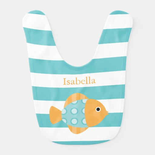 Cute Orange and Aqua Fish Bibs