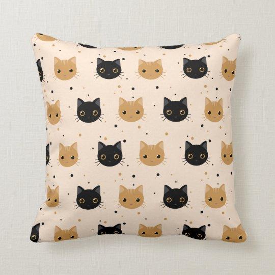 Cute Orange and Black Halloween Cat Pattern Cushion
