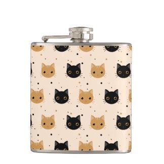 Cute Orange and Black Halloween Cat Pattern Hip Flask