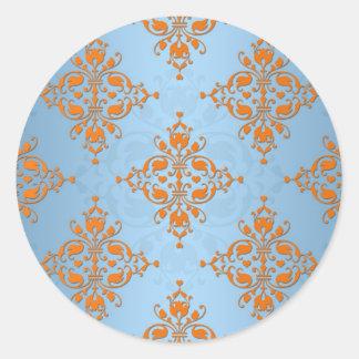 Cute Orange and Blue Damask Round Sticker