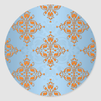 Cute Orange and Blue Damask Stickers