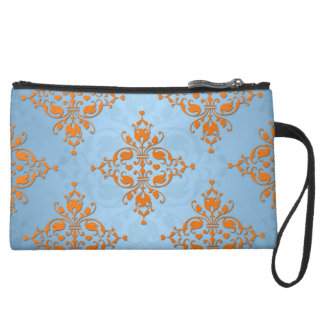 Cute Orange and Blue Damask Wristlet Clutches