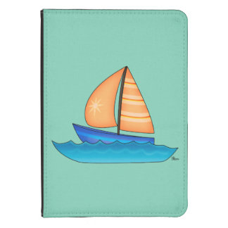 Cute Orange and Blue Sailing Boat