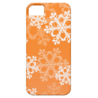Cute orange and white Christmas snowflakes iPhone 5 Cover