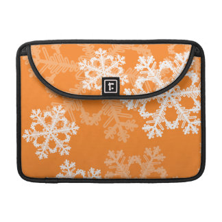 Cute orange and white Christmas snowflakes Sleeve For MacBooks