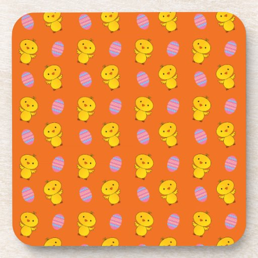 Cute orange baby chick easter pattern coasters
