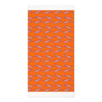 Cute orange bacon pattern photo greeting card