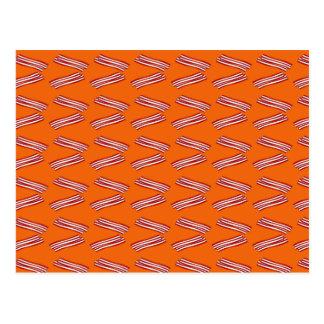 Cute orange bacon pattern postcard