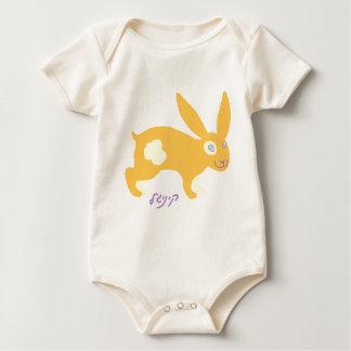 """Cute orange bunny-""""kinigle"""" in Yiddish Baby Bodysuit"""
