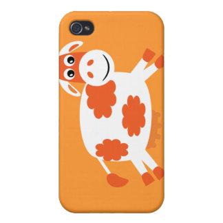 Cute Orange Cartoon Cow Cases For iPhone 4