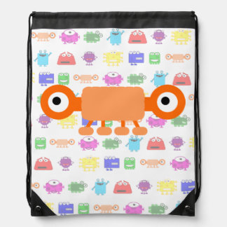 Cute Orange Cartoon Monster Drawstring Backpack