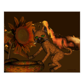 Cute Orange Cat and Sunflower Poster