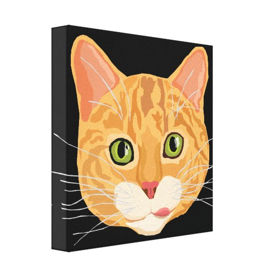 Cute Orange Cat Face Illustration Canvas Print