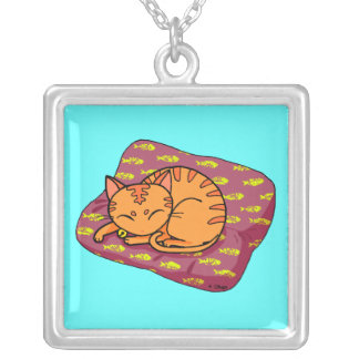 Cute orange cat sleeping personalized necklace