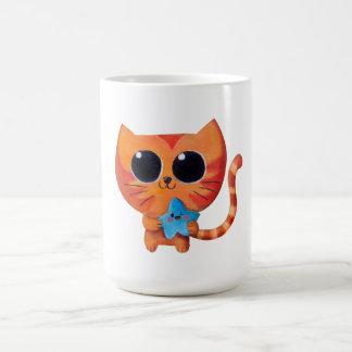 Cute Orange Cat with Star Coffee Mug