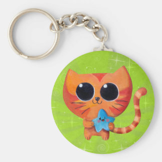 Cute Orange Cat with Star Key Chains