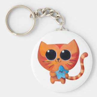 Cute Orange Cat with Star Keychains