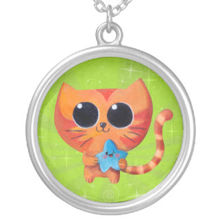 Cute Orange Cat with Star Personalized Necklace