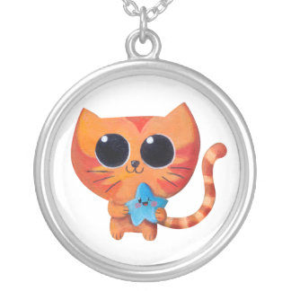 Cute Orange Cat with Star Necklaces