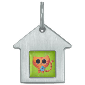 Cute Orange Cat with Star Pet ID Tags