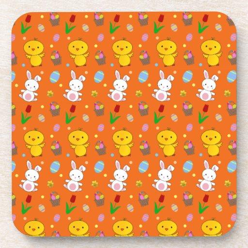 Cute orange chick bunny egg basket easter pattern coasters