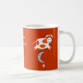 Cute Orange Cows Jumping Over The Moon Basic White Mug