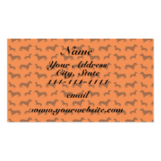 Cute orange dachshund pattern pack of standard business cards