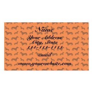 Cute orange dachshund pattern pack of standard business cards
