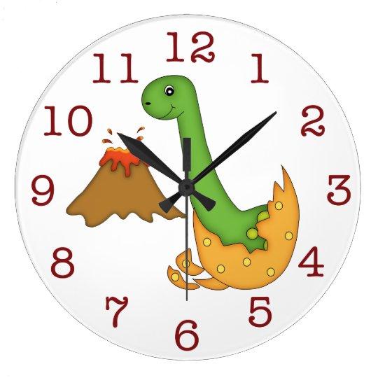 Cute Orange Dinosaur and Volcano/big numbers Large Clock